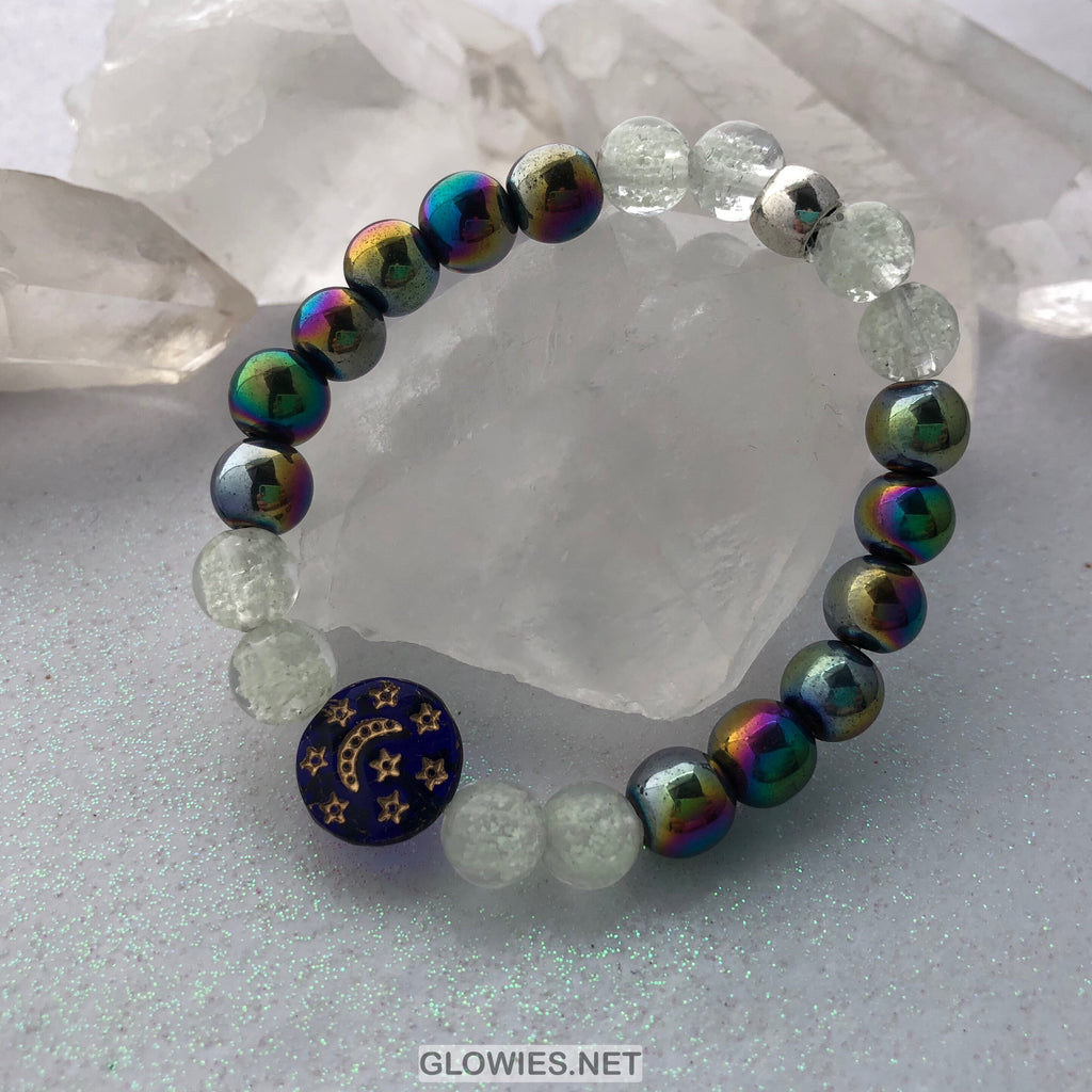Rainbow Hematite Aurora Borealis Moon and Star Glow in the Dark Bracelet
