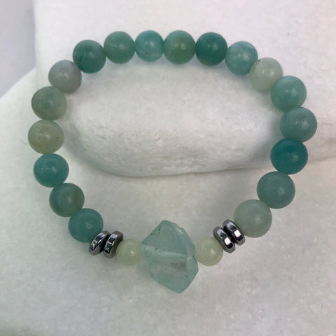 Amazonite Quartz Crystal Hematite Beaded Bracelet