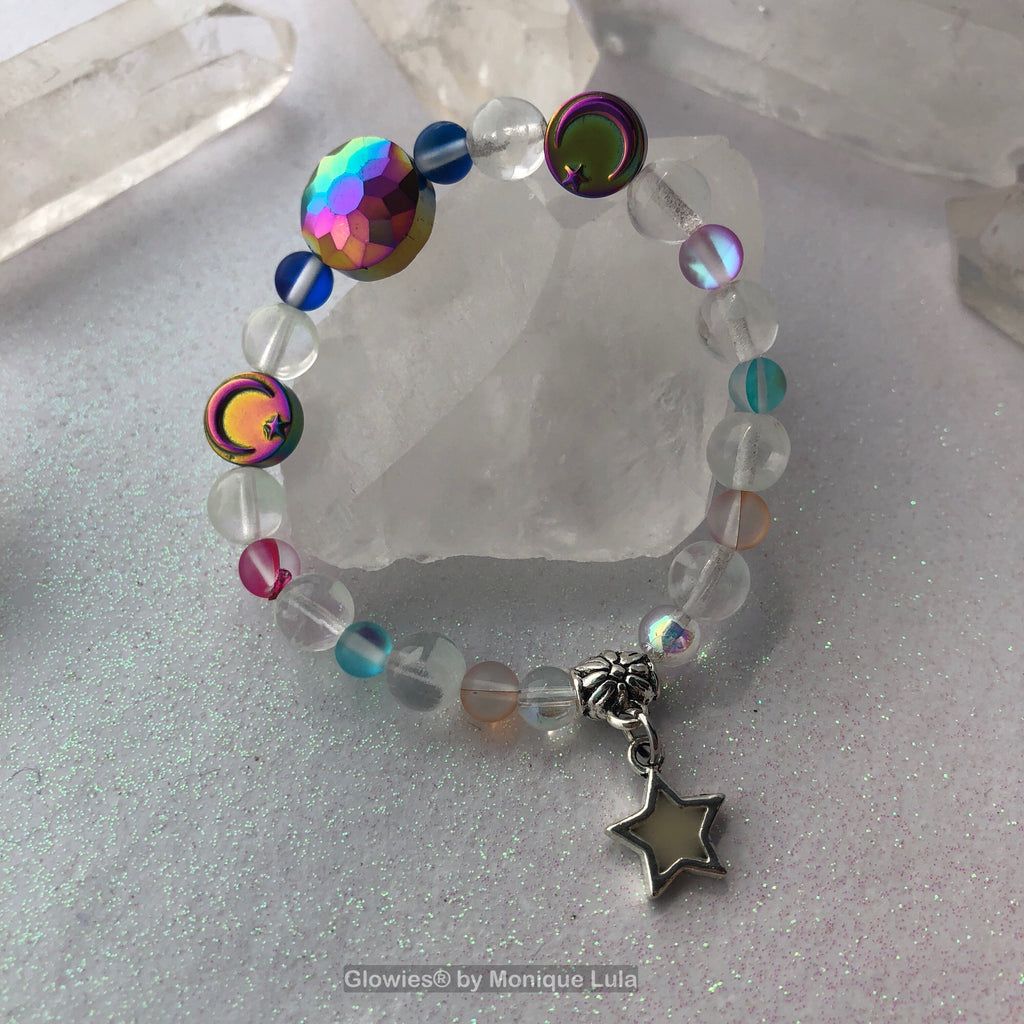Midnight Mystic Moon Rainbow Quartz and Glass Beaded Glow in the Dark Bracelet