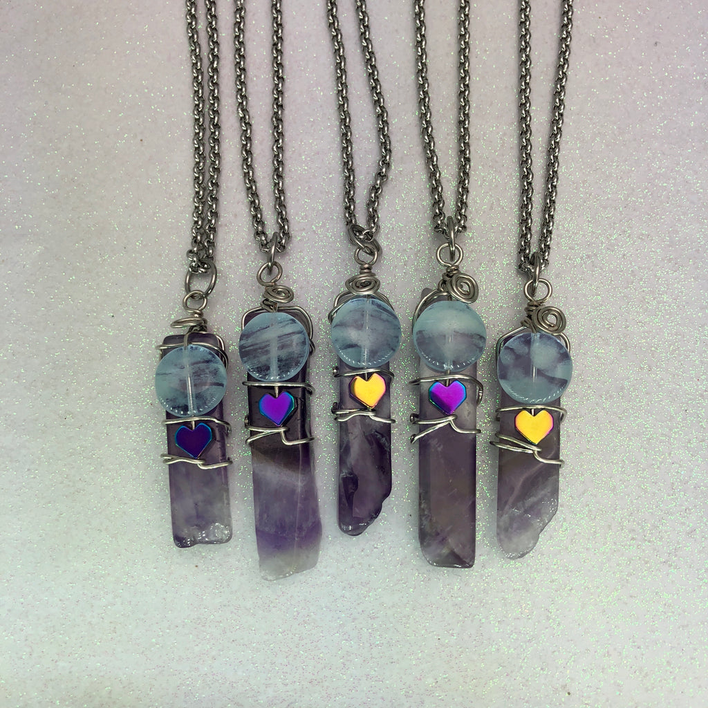 Amethyst Gemstone Spike with Rainbow Hematite Heart Wire Wrapped Glowie Beaded Pendant Necklace