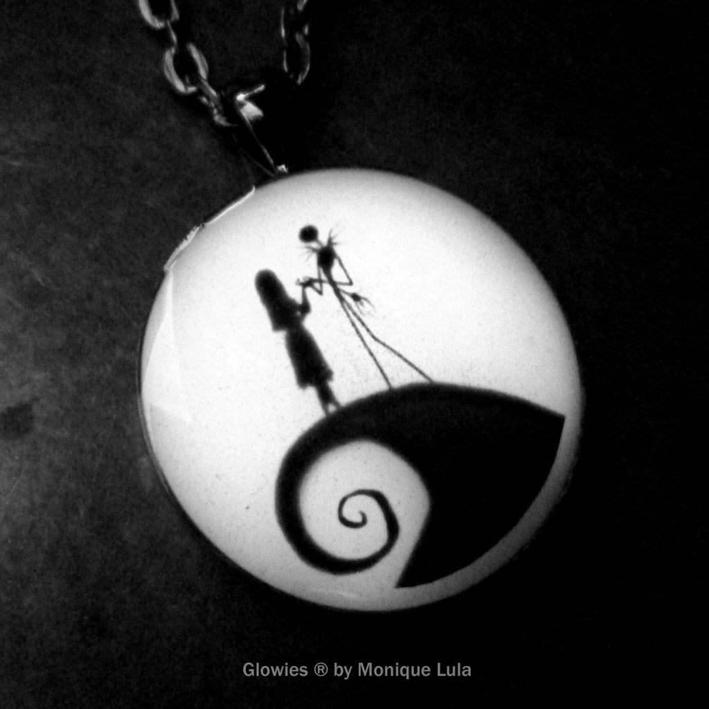 Jack and Sally Glow in the dark Necklace