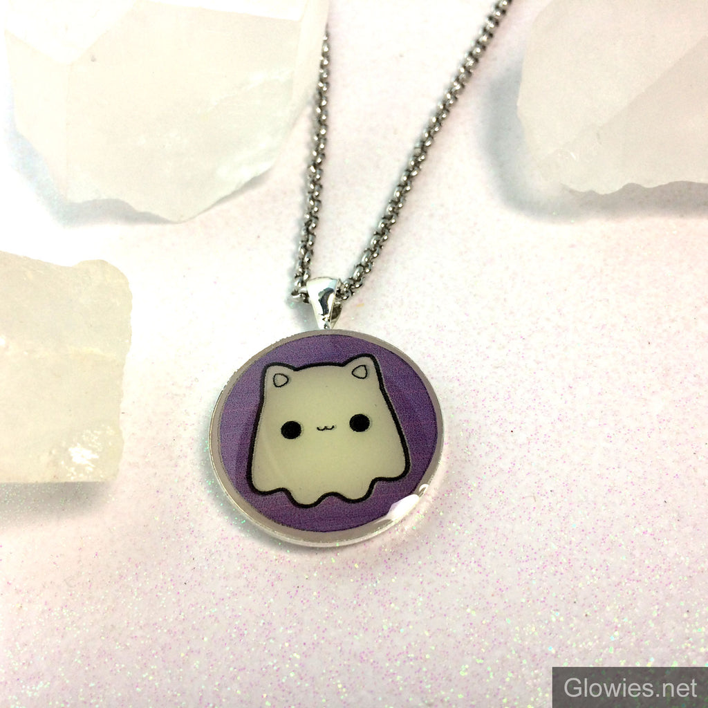 Kawaii Cat Ghost Glow Art Necklace
