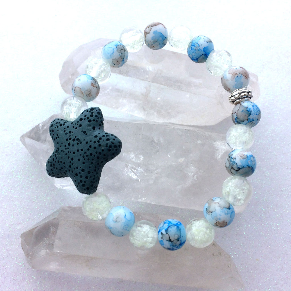 Lave Stone Star Galaxy Glow Glass Essential Oil Beaded Bracelet