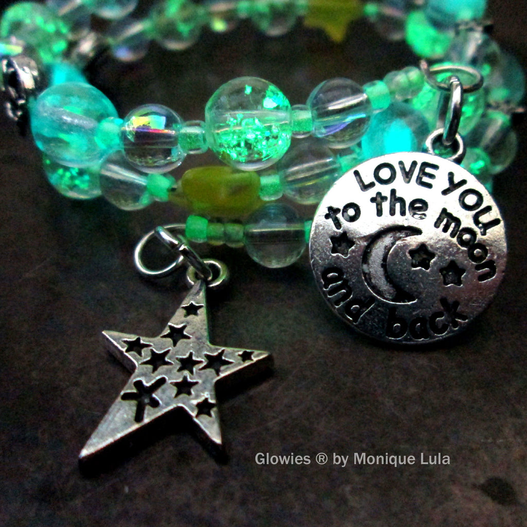 Yellow Star Love You To The Moon & Back Glow Galaxy Bracelet