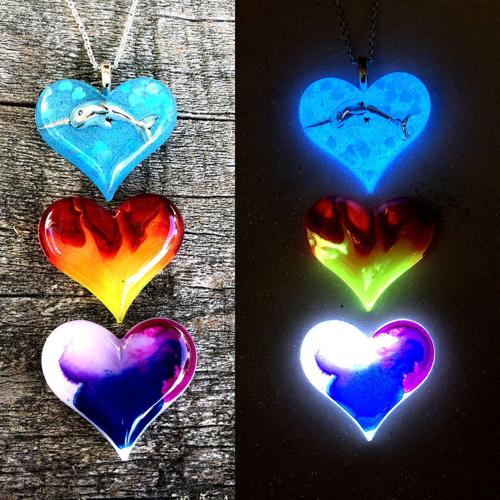 Lula Heart Style Batch #25 - Narwhal Red Yellow Flame Aurora Borealis