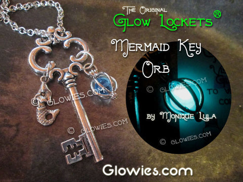 Mermaid Orb Key Vintage Style Silver