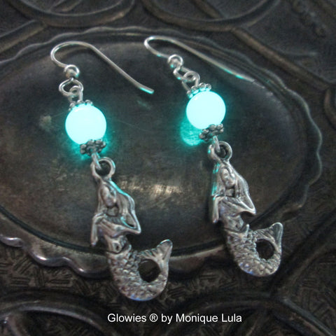 Glow Glass Mermaid Earrings on STerling Silver Hooks