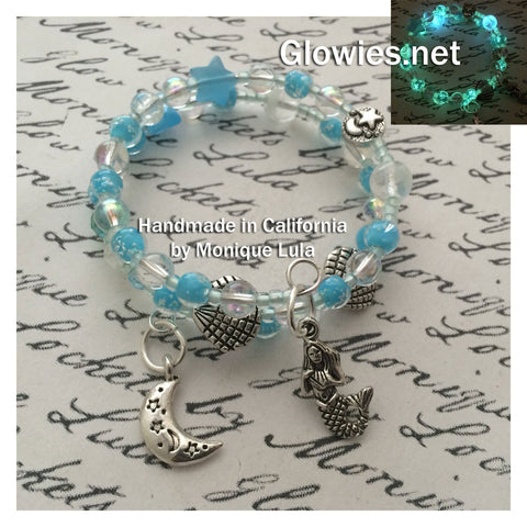 Blue Star Mermaid Ocean & Shells Galaxy Beaded Bracelet