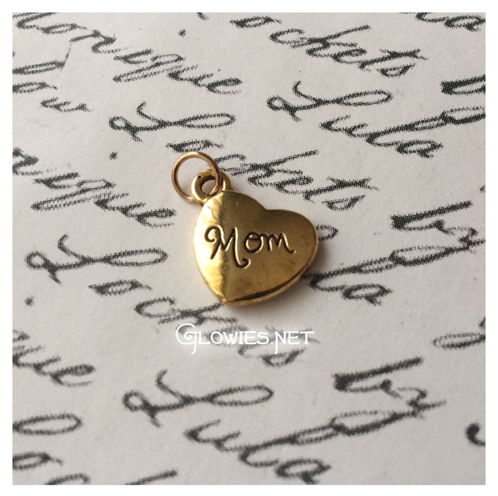 Mom Heart Gold Tone Charm