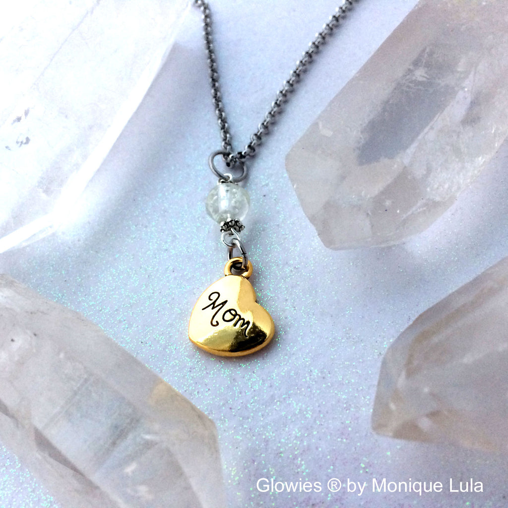 Glow Galaxy Glass Mom Heart necklace