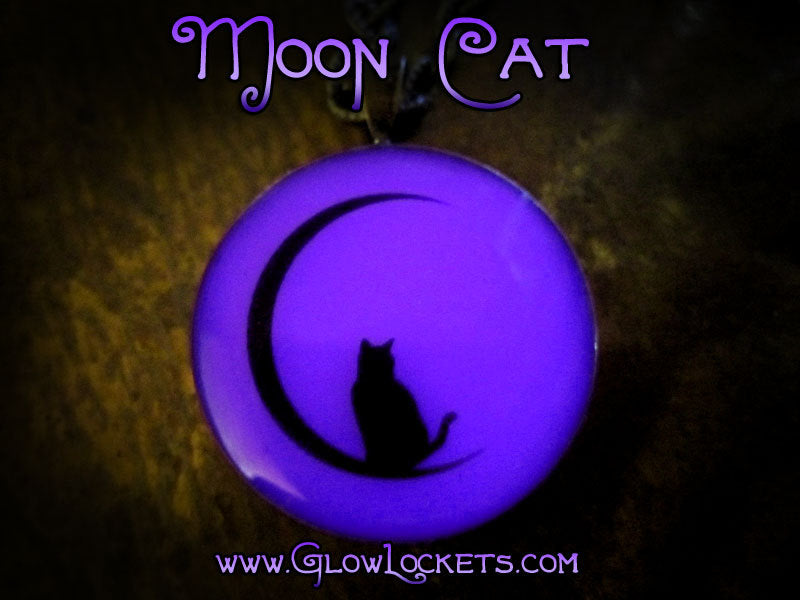 Purple Moon Kitty Cat Glow in the dark Pendant