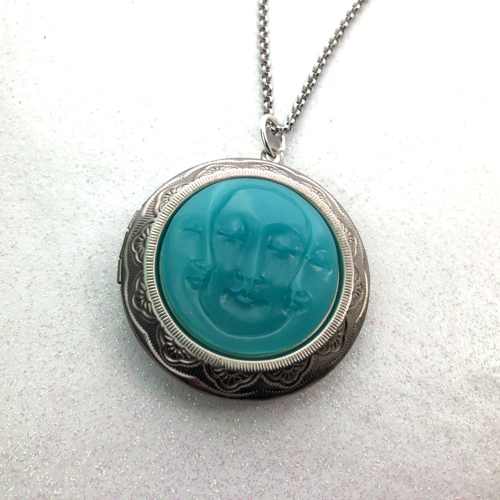 Triple Moon Goddess Faces Glow Stone Picture Locket