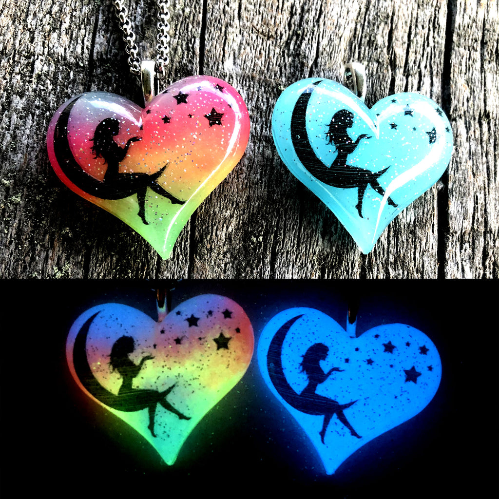Moon Fairy Glow in the dark Lula Heart Necklace