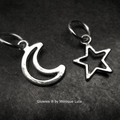 Crescent Moon & Star Charm Together