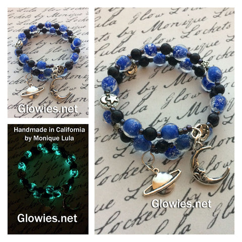 Moon and Stars Glowing Galaxy Bracelet