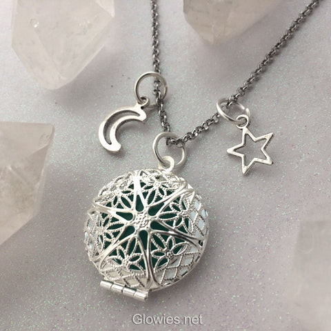 Moon and Star Necklace Glow Locket® Silver Vintage Filigree