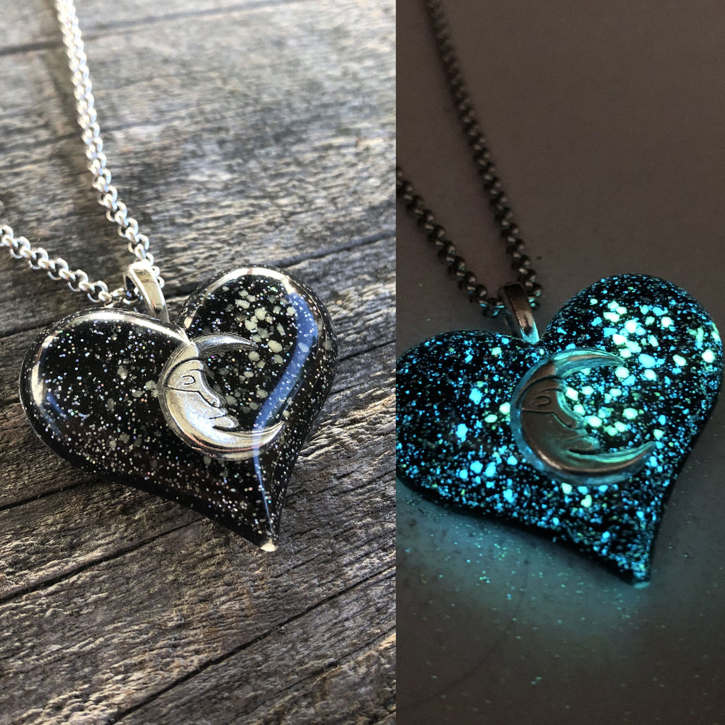 New Style Moon Within Your Heart Galaxy Glow Necklace