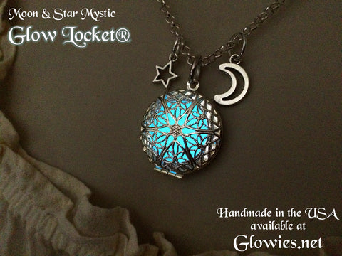 Moon and Star Glow Locket® Silver Vintage Filigree