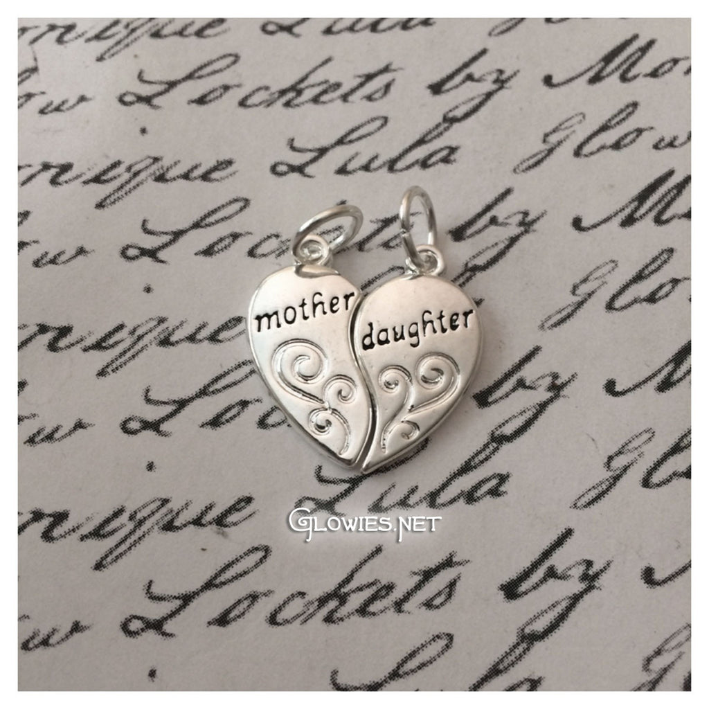 Mother Daughter Heart Charm Set