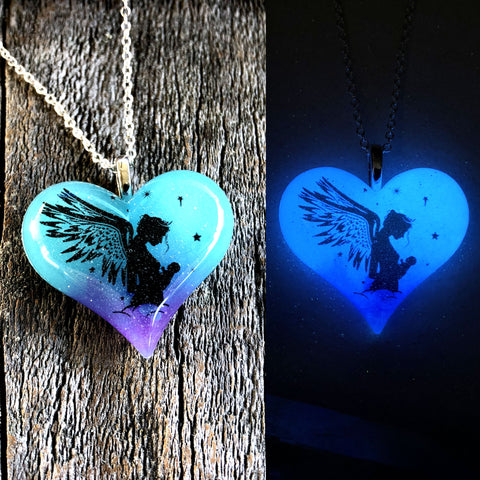 Angel Mother with Child Glow in the dark Lula Heart Necklace