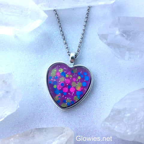 Neon 80s Glass Heart Necklace