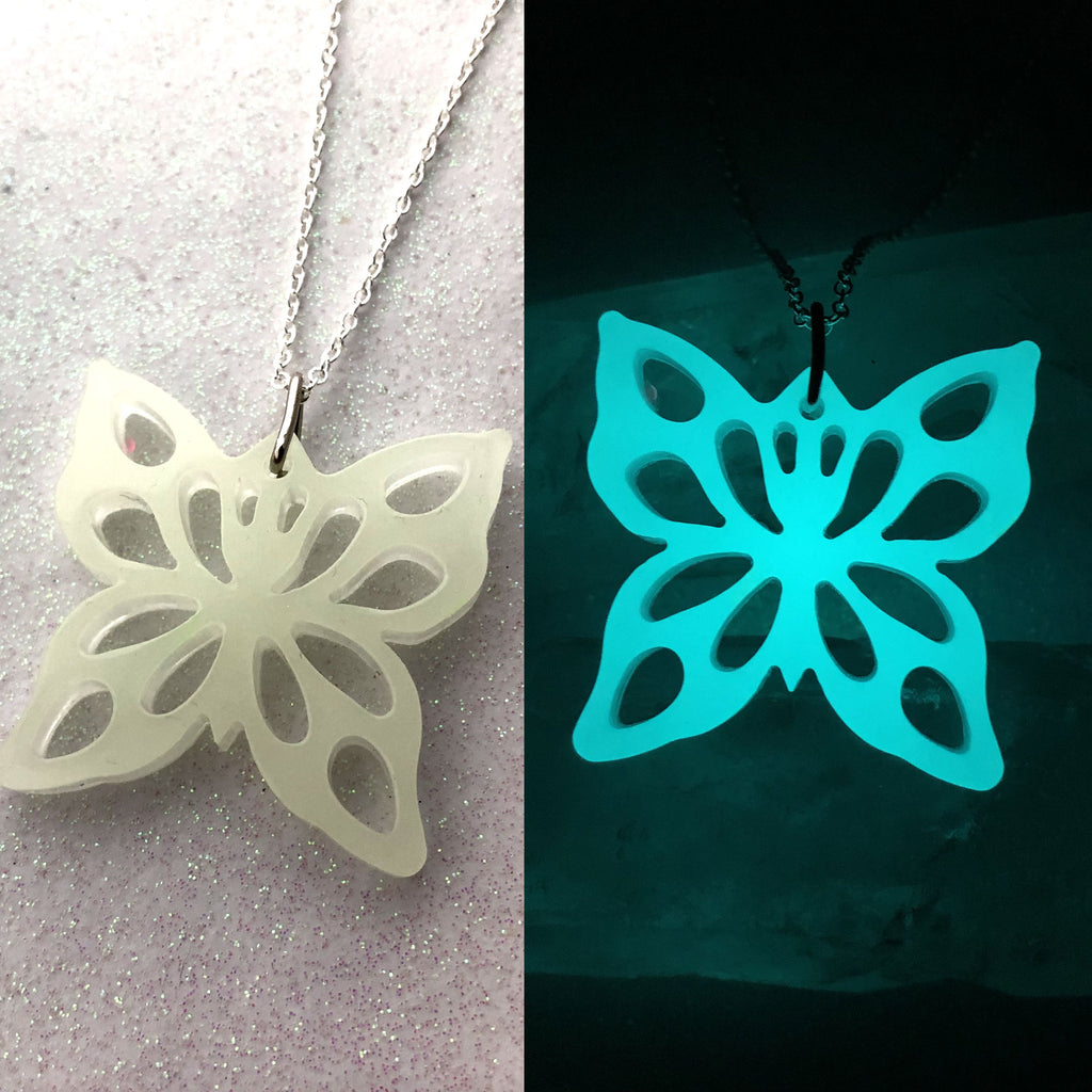 Glow Butterfly with Lacey Wing Cut Outs necklace