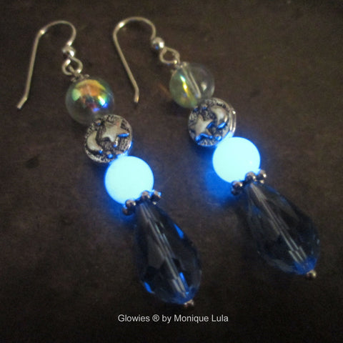 Crescent Moon Glow Glass Earrings With Sterling Silver Hooks