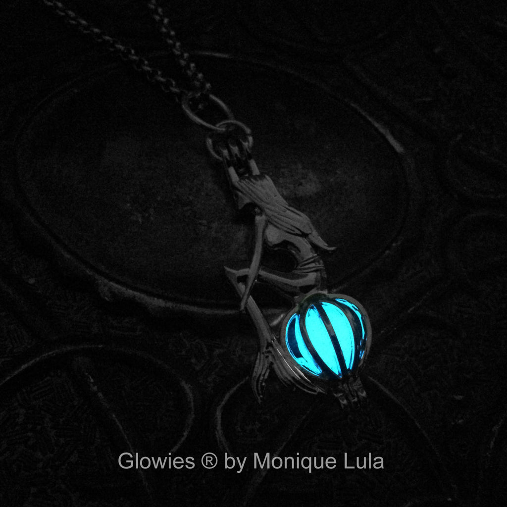 Mermaid Sitting on Glowing Orb Glow Necklace