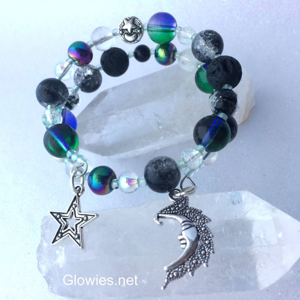 Night Sky Essential Oil Lava Stone Beaded Bracelet