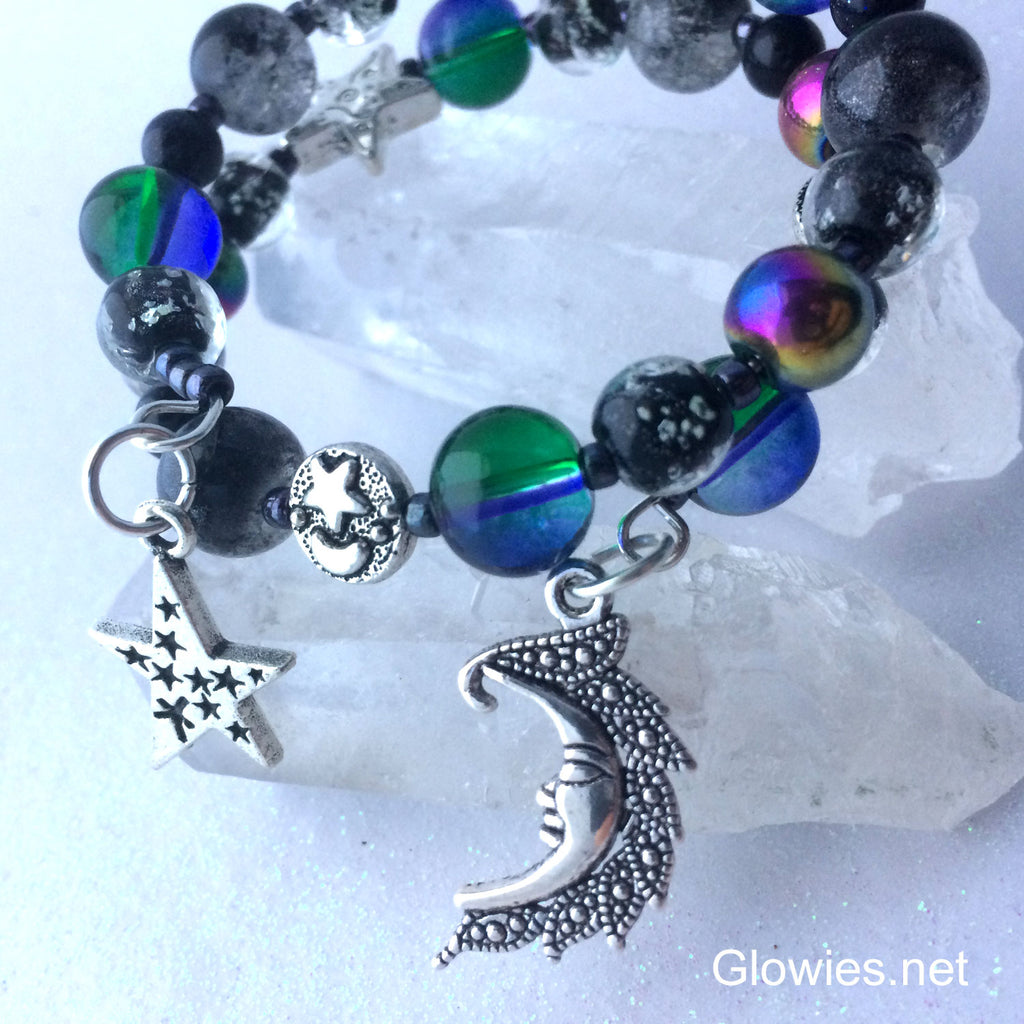 Customizable Night Sky Glow Glass Beaded Bracelet