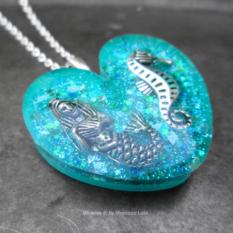 Ocean Heart with Mermaid & Seahorse