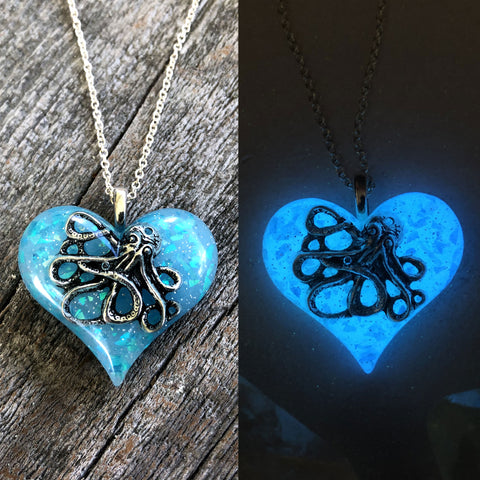 Octopus Glow Opal Heart Necklace