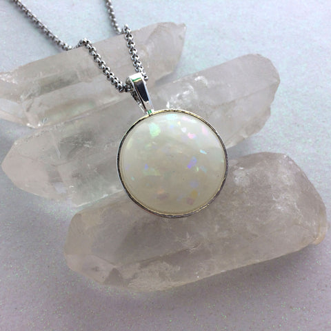 "1"" Round Handmade Glow Opal Necklace"