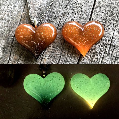 Orange & Black Lula Heart Glow Necklaces
