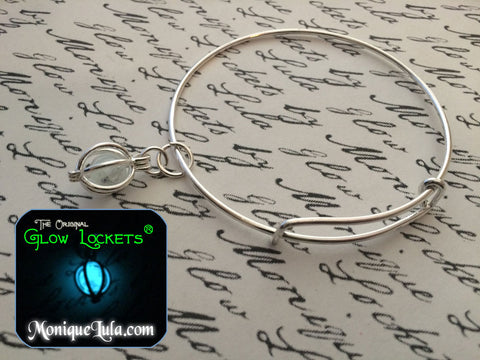 Glowing Orb Glow Locket Adjustable Bangle Bracelet