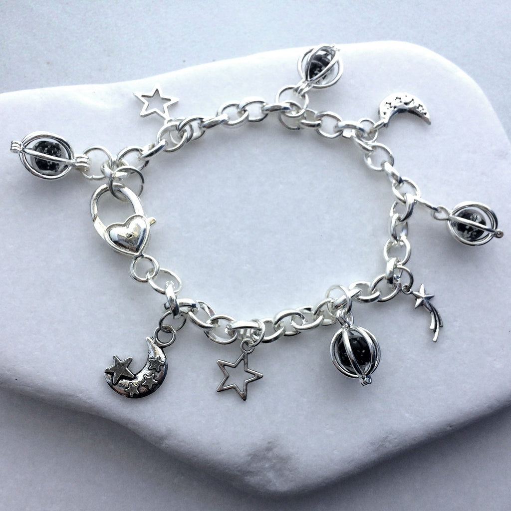 Outer Space Galaxy Glow Glass Link Charm Bracelet