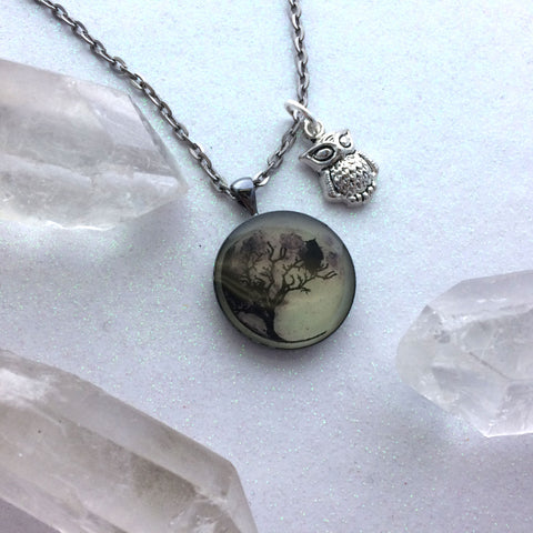 Full Moon Owl in Tree Glow Necklace