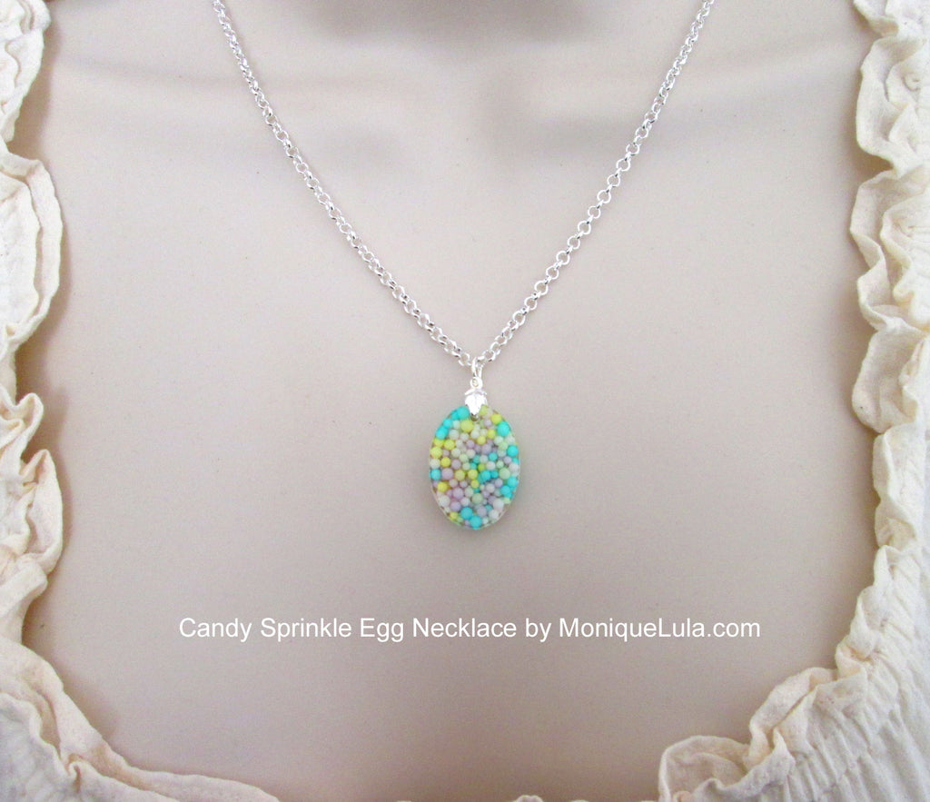 Real Candy Sprinkle Oval Egg Necklace