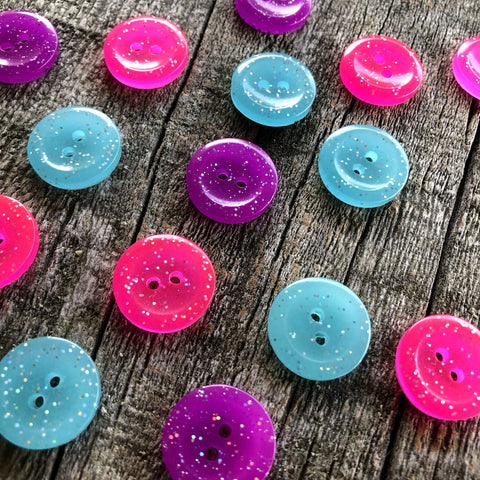 5 Handmade Glow in the dark Buttons