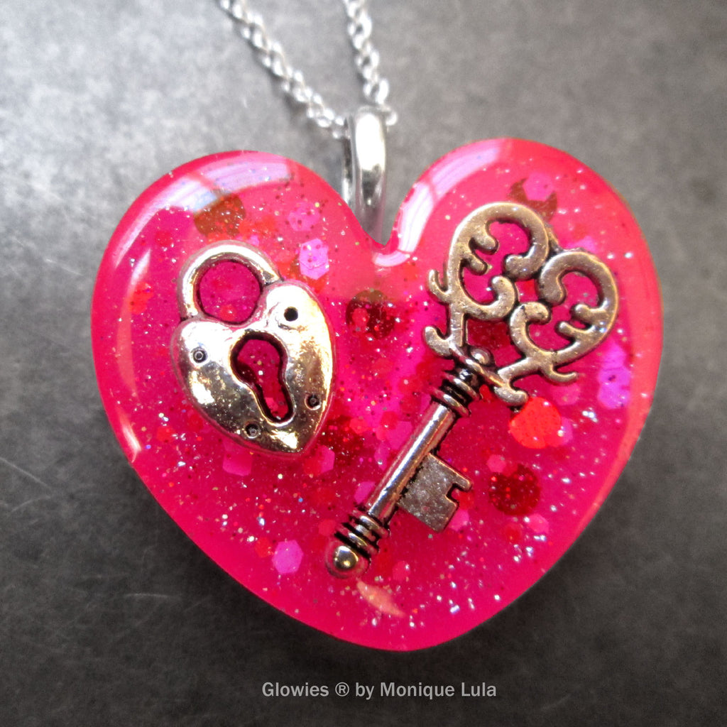 Key To My Glowing Locked Heart Necklace
