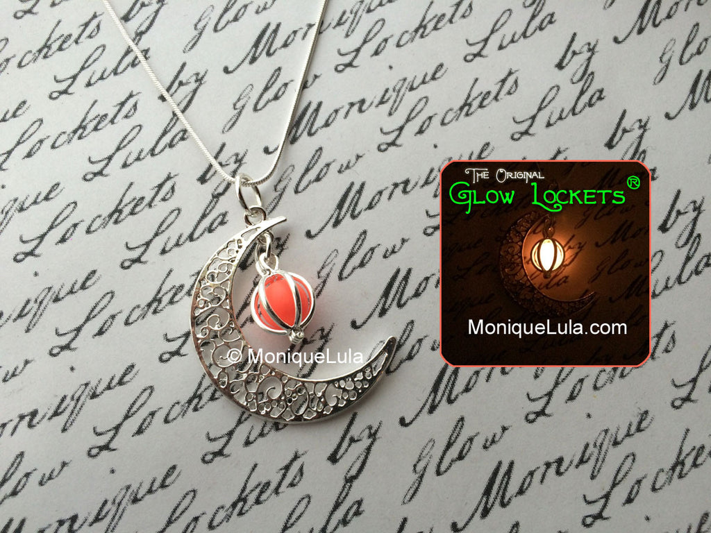 Pink Crescent Moon Glowing Orb Necklace