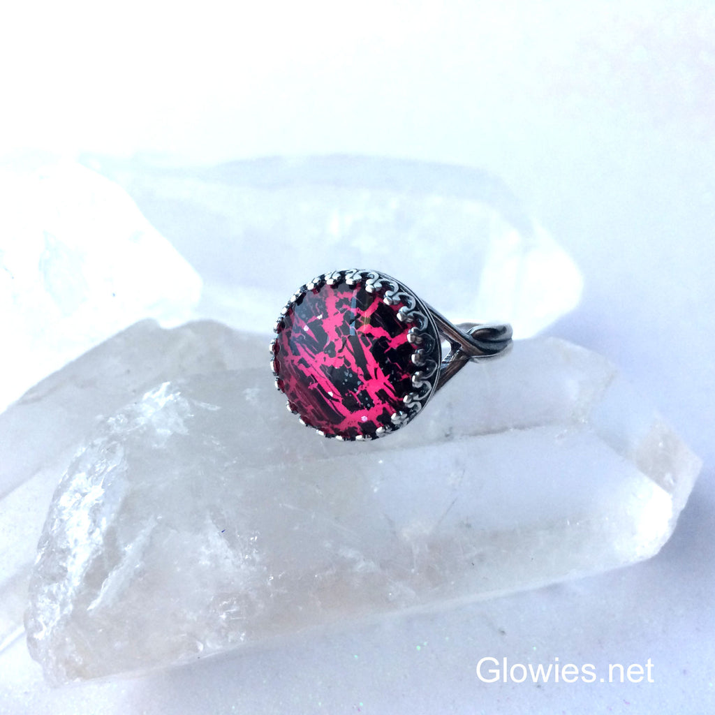 Shattered Mirror Glow Glass Ring