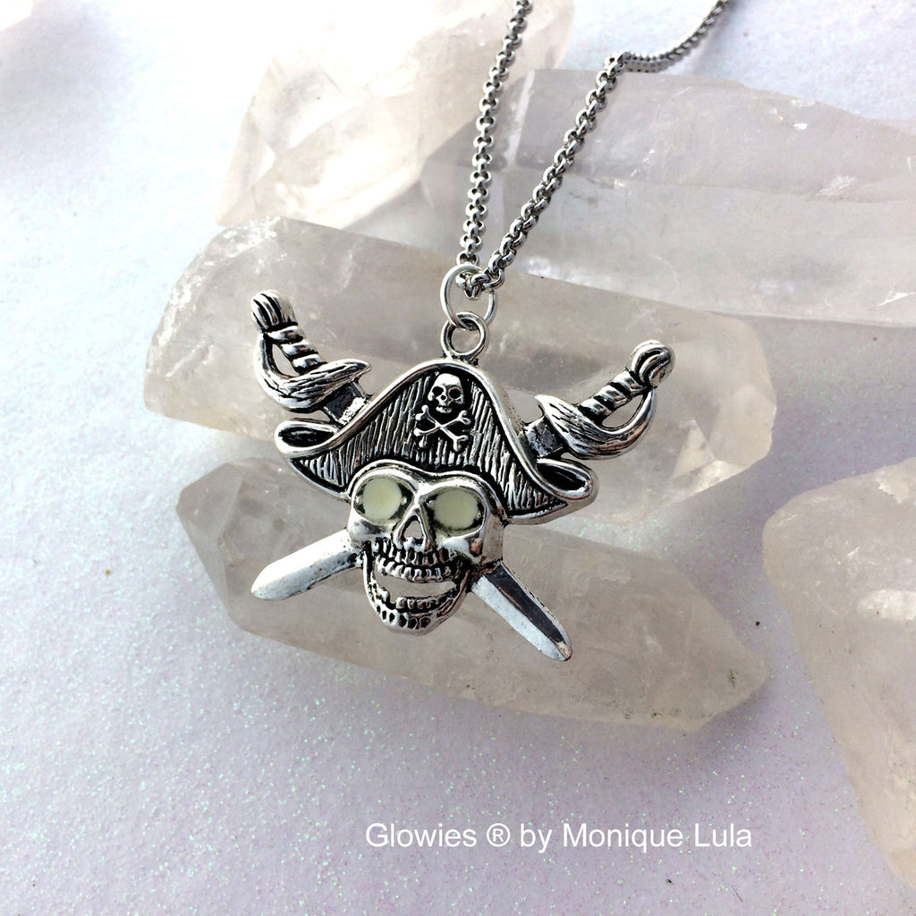 Pirate Skull with Glowing Eyes and Swords Necklace