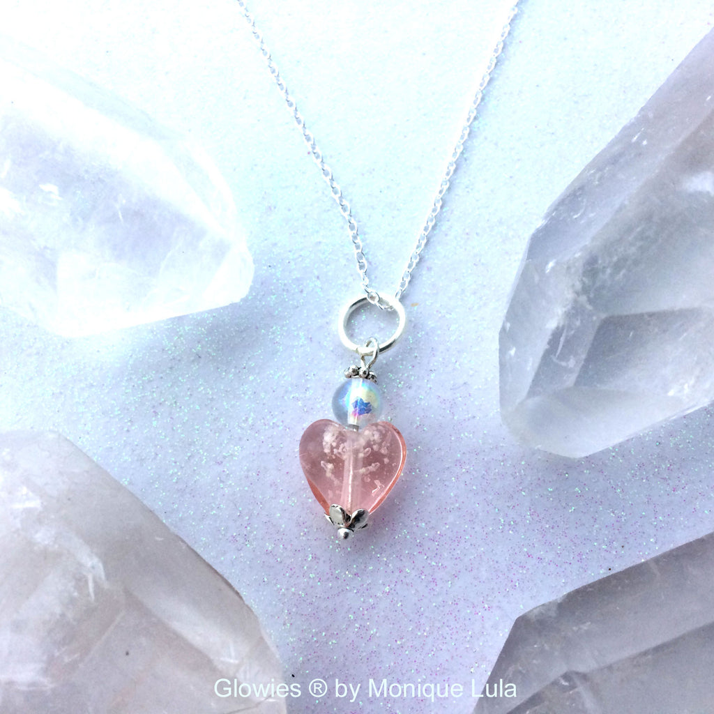 Pink Galaxy Glow Glass Heart Necklace
