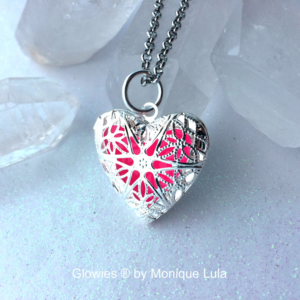 Pink Heart Glow Locket ® Silver Plated Filigree