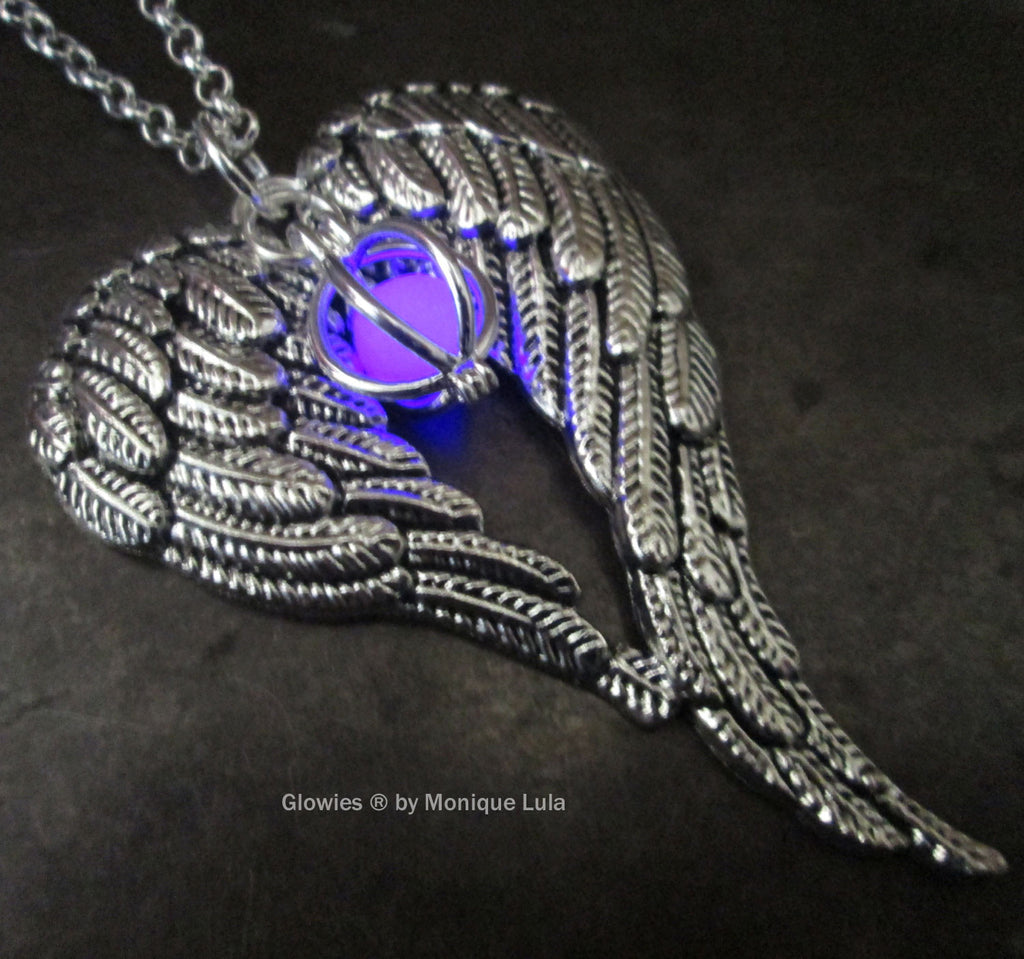 Purple Angel Wings Heart with Glowing Orb Necklace