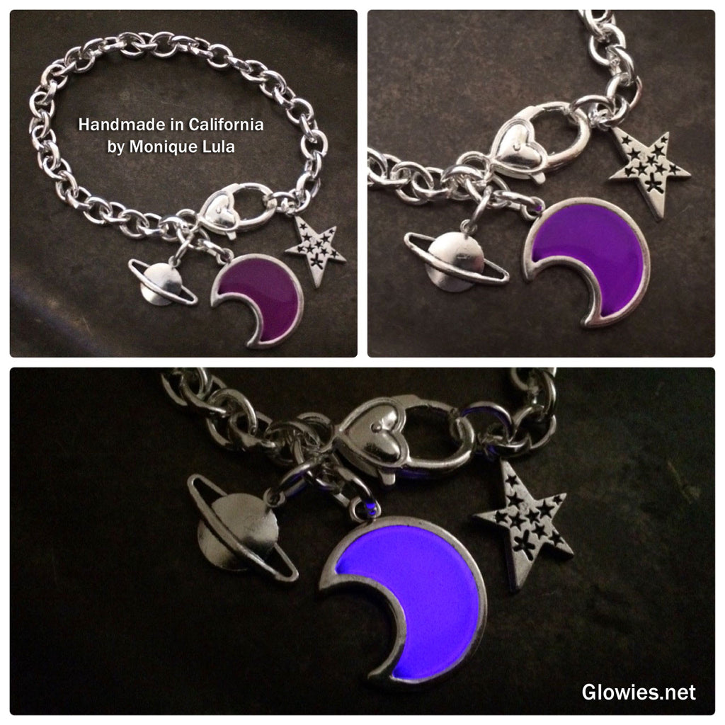 Glowing Crescent Moon Outer Space Link Charm Bracelet