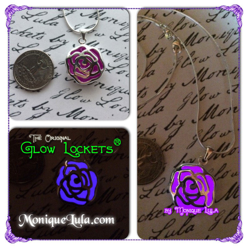 Enchanted Purple Glowing Rose Necklace