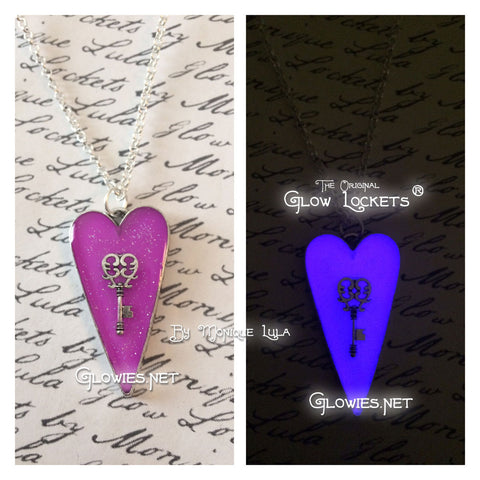 Frozen Heart with Key Glowing Necklace