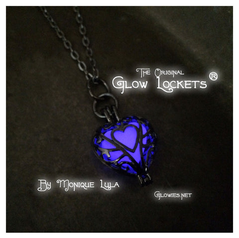 Gun Metal Ultra Violet Purple Frozen Glowing Heart Necklace